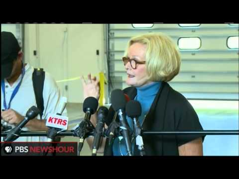 Sen. Claire McCaskill speaks with press in Ferguson, Missouri a day after protests and arrests