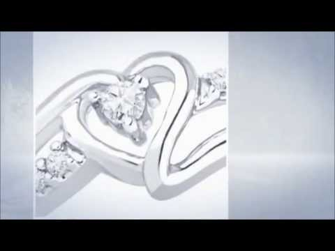 Sterling Silver Round Diamond Heart Promise Ring - YouTube