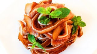 Китайская кухня.  Свиные уши в красном соусе.