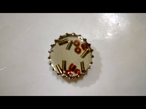 DIY Bottle Cap Resin Pendant with Mirror and Beads