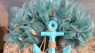 How to Make a Mesh Nautical - Beach Wreath for Door or Wall
