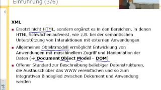 Internet- und WWW-Technologien, XML - Extensible Markup Language