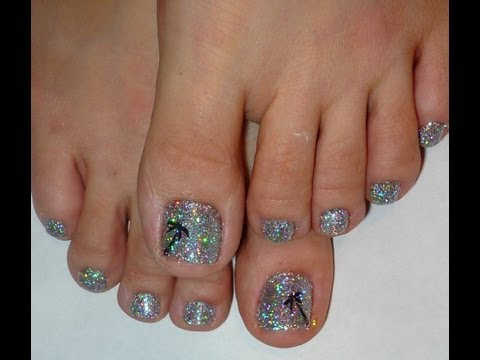 Rock Star Toe Nails Palm Tree & Holographic Glitter