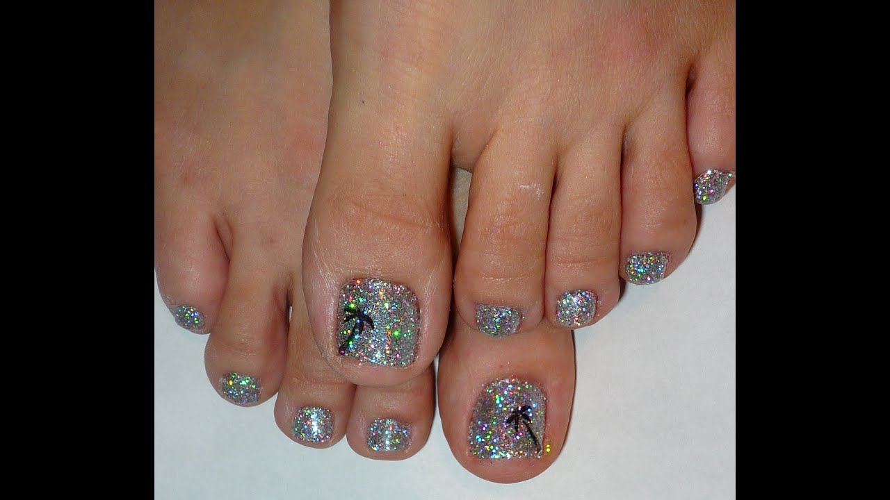 Rock Star Toe Nails Palm Tree Holographic Glitter