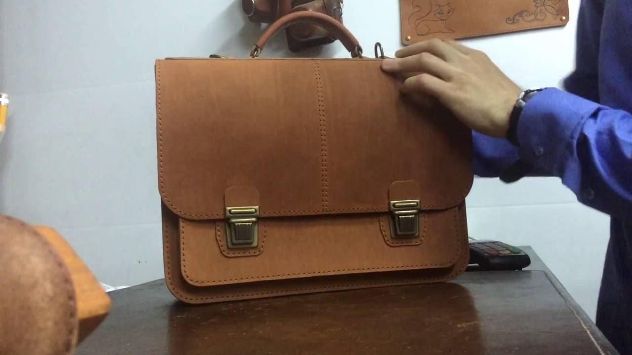 60282423e01d Мужской кожаный портфель ручной работы - YouTube