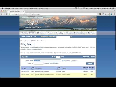 Wyoming Secretary of State Business Search