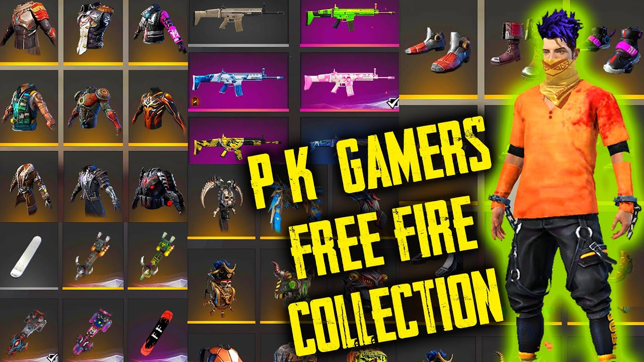 P K Gamers Free Fire All Collection Vault Weapon Skins Emotes Bundles Garena Free Fire Youtube