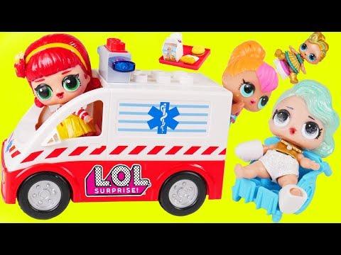 LOL Surprise Dolls + Lil Sisters Visit Hospital McDonalds Drive Thru in Ambulance - Toy Wave 2 Video