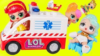 LOL Surprise Dolls + Lil Sisters Visit Hospital McDonalds Drive Thru in Ambulance - Toy Wave 2 Video