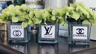 Chanel flower vase DIY! Chanel vase! Fashion designer inspired vases at home by me self! Gucci vase