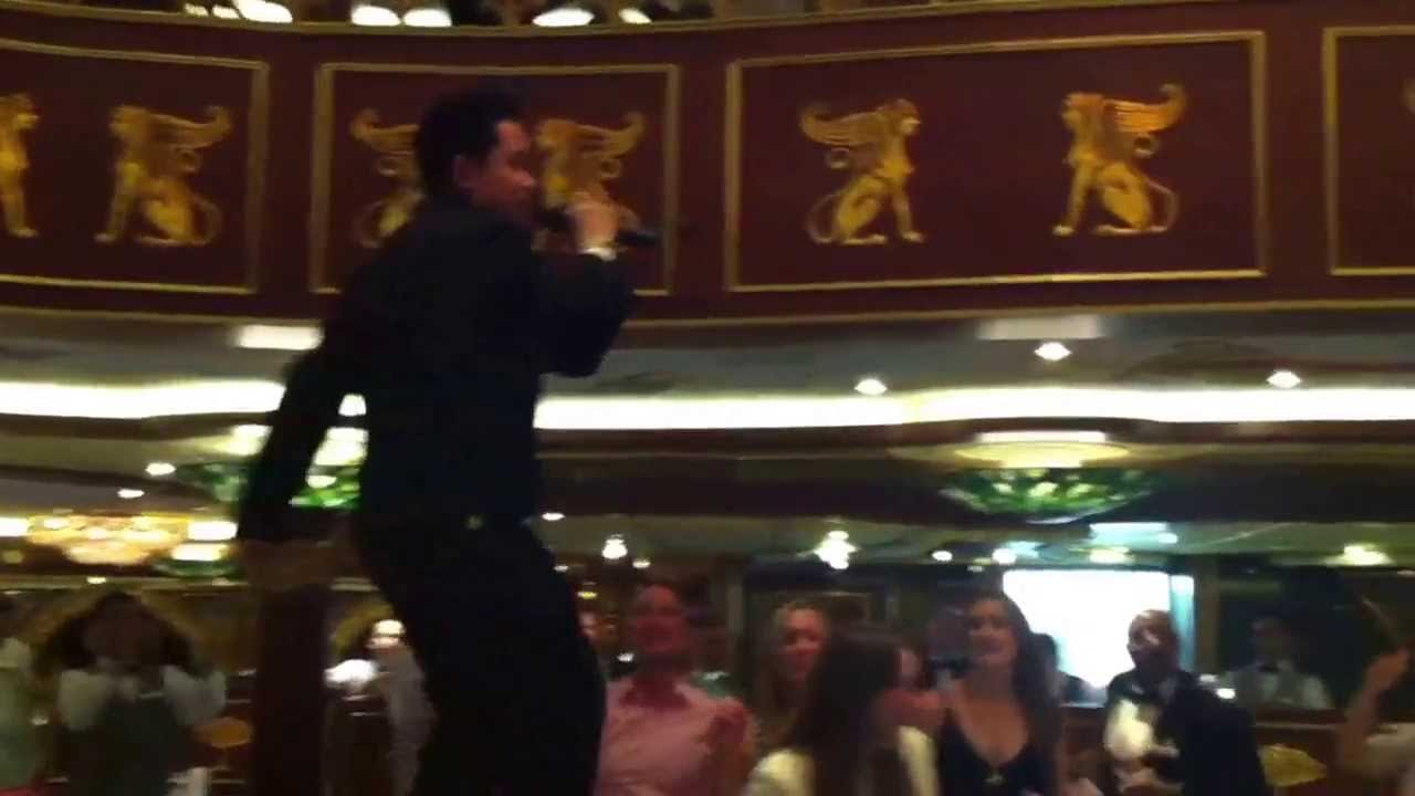 Sheward The Waiter Singing In Empire Dining Room On Carnival Spirit Cruise Ship