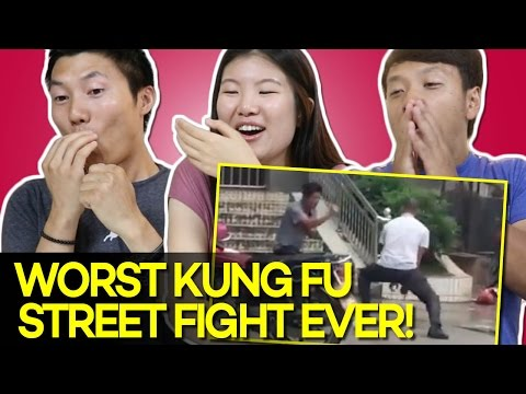 Asian Americans Reacting to the WORST Kung Fu Street fight EVER!