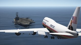Air Force One (747) Emergency Landing On Aircraft Carrier | GTA 5