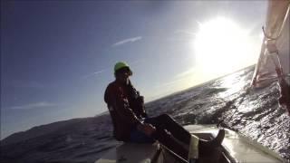 Laser sailing Bellingham Bay june 20 2014 high wind boogie sail boat in Fairhaven Washington