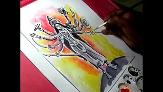 How to Draw Adi Parashakti Painting with Ten Hands