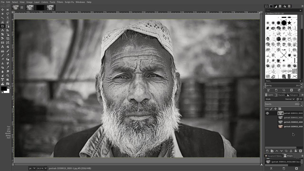 Gimp 2 10 convert colour photographs to black and white