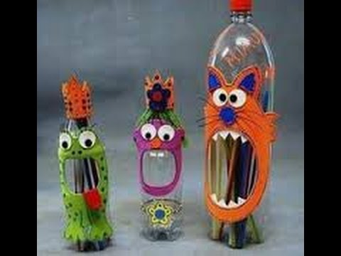 Waste bottles art craft youtube for Craft using waste bottles