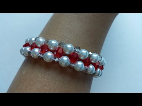 Swarovski Crystal Bicone Beads And Pearls Beads Bracelet