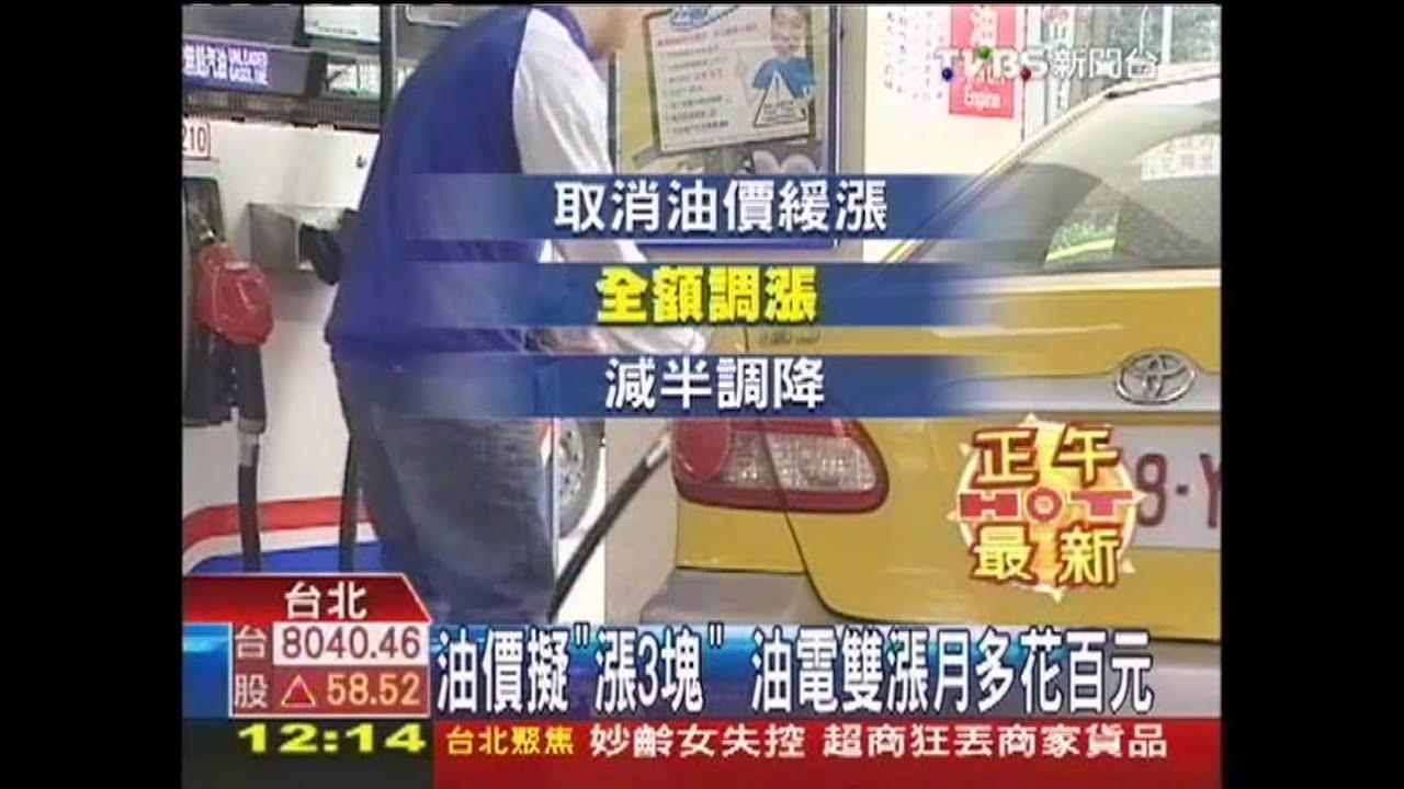 油價擬「漲3塊」 油電雙漲月多花百元 - YouTube