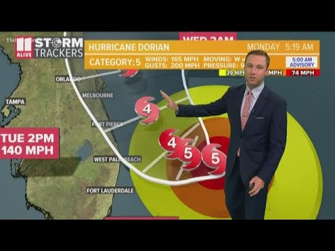 Hurricane Dorian moving slowly toward Florida