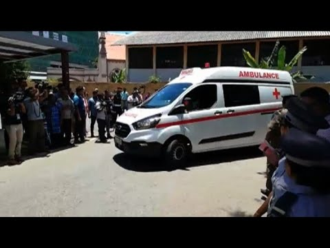 Ambulances arrive at hospital in Colombo as blasts hit Sri Lanka