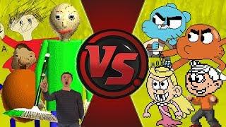 BALDI'S BASICS vs GUMBALL & LOUD HOUSE! TOTAL WAR! (Baldi's Basics Animation Meme) Cartoon Animation