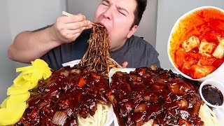 My First Time Trying Authentic Spicy Korean Black Bean Noodles Jajangmyeon • MUKBANG