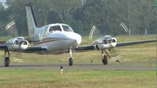 Cessna 421, C-GJKL Landing and Departing KHWY on 7/16/12 at 1815