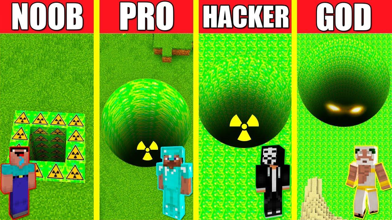 Minecraft Battle: RADIOACTIVE TOXIC TUNNEL HOUSE BUILD - NOOB vs PRO vs HACKER vs GOD / PIT HOLE