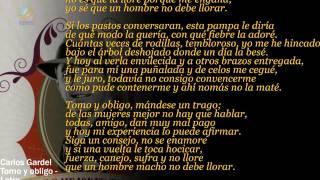 Carlos Gardel - Tomo y obligo (Letra)