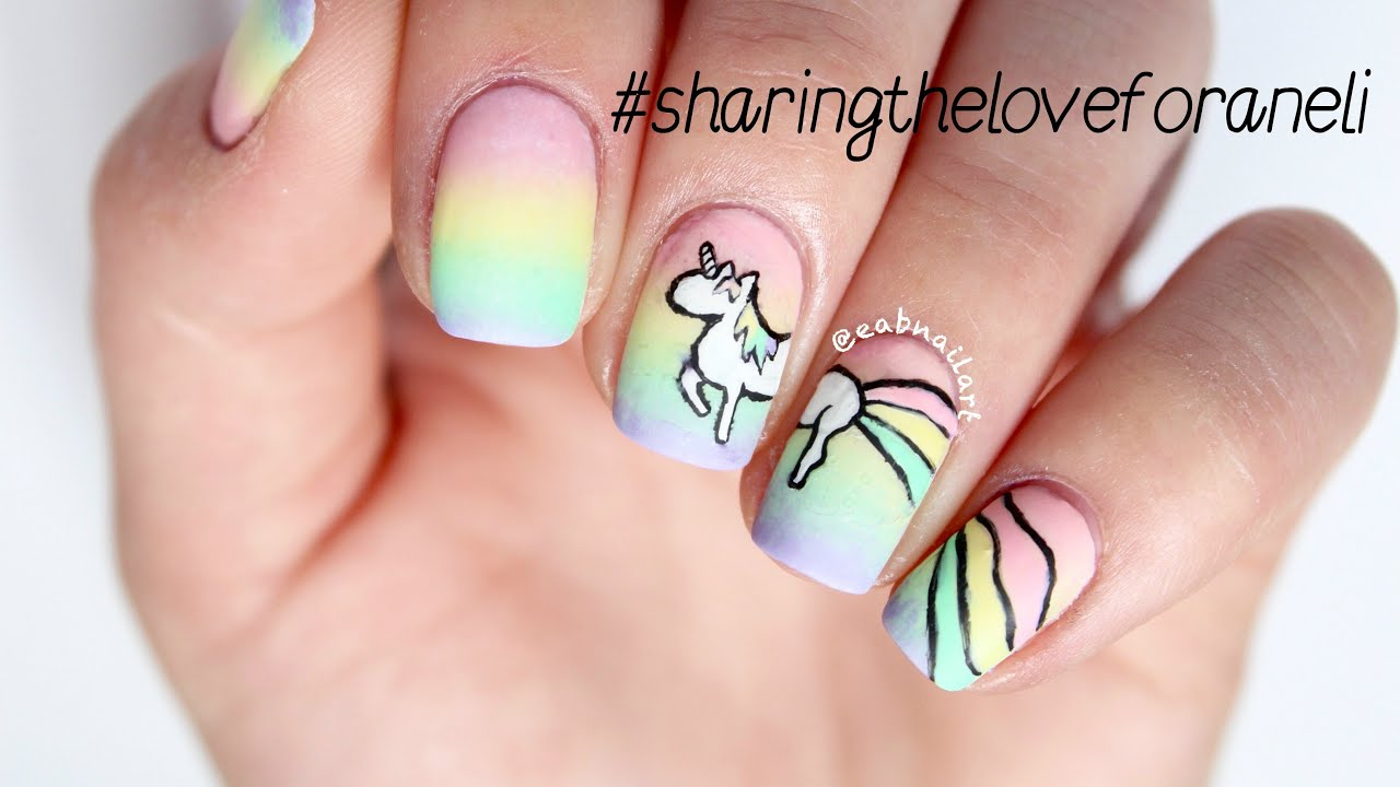 #sharingtheloveforaneli Unicorn Nail Art Tutorial - Sharingtheloveforaneli Unicorn Nail Art Tutorial - YouTube