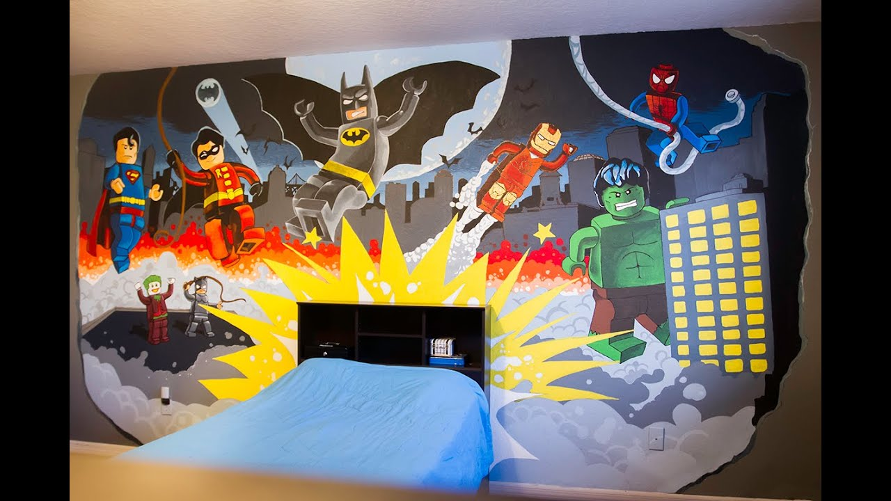 Super Hero Bedroom Lego Super Hero Mural Youtube