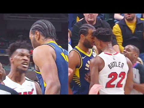 Heat's Jimmy Butler blows kisses at Pacers' T.J. Warren, who gives ...