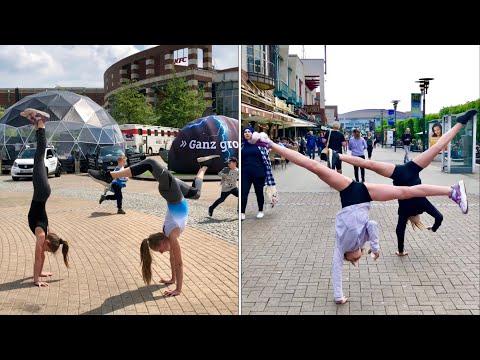 Gymnastics in Public 😅 Turnen in der Öffentlichkeit am Centro Oberhausen und Promenade 😄 mit Toni