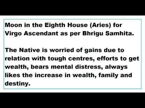 moon in 8th House for virgo Ascendant as per Bhrigu Samhita
