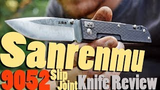 Sanrenmu 9052 Slip Joint Pocket Knife Review (3.3 in blade)  Plus wood cutting.