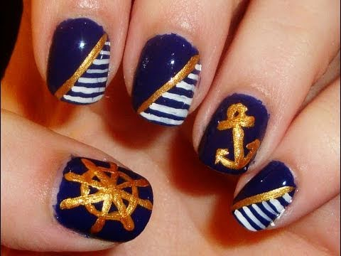 Nautical Themed Nail Art - YouTube