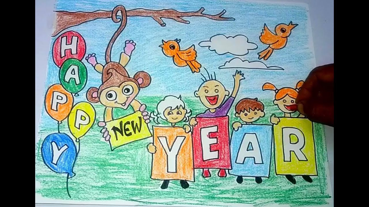 Diy Easy Happy New Year Drawing For Kids Youtube