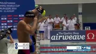 Рекорд Мира Владимир Морозов 100кп Кубок Мира по плаванию 2016 Берлин