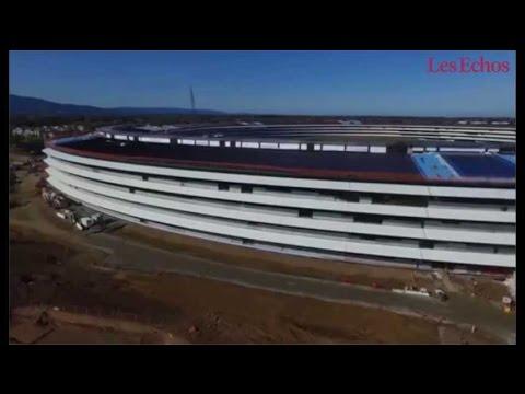 Le campus géant d'Apple à Cupertino vu d'un drone