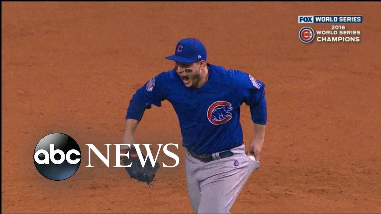 newest 8cfdb e0876 Anthony Rizzo Pockets Baseball, Ends Chicago Cubs World Series Drought