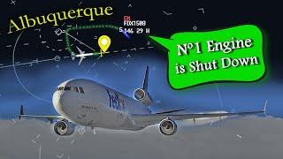 FedEx MD-11 has LEFT ENGINE FAILURE ENROUTE | Diverts to Albuquerque