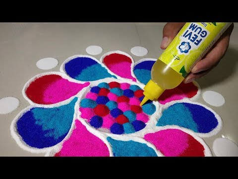Easy Attractive Rangoli for Diwali Festival Lakshmi Pada DIY Diwali/Christmas Home Decoration Ideas