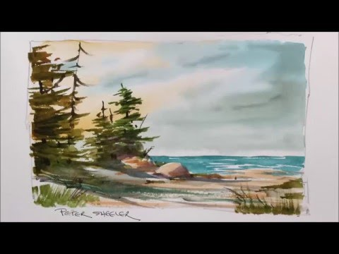 A quick and fun Watercolor demonstration of a Lake Shoreline painting. Easy to follow and learn.