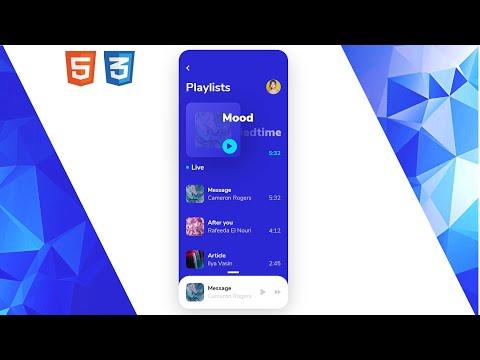 Modern, Blue Music Player | UI Design to HTML, CSS