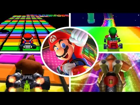 Evolution of Rainbow Road in Mario Kart (1992-2017)