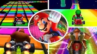 Evolution of Rainbow Road in Mario Kart (1992-2017)