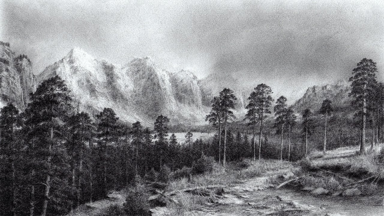 Pencil Sketch Mountain
