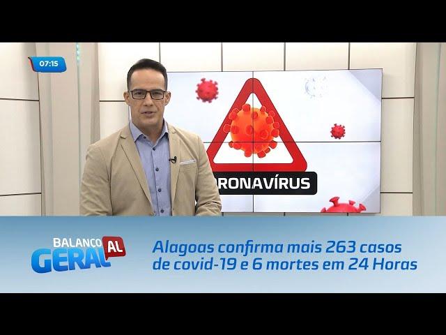 Alagoas confirma mais 263 casos de covid-19 e 6 mortes em 24 Horas