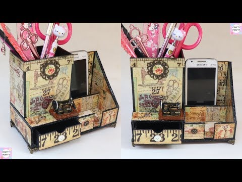 DIY Desk Organizer/ DIY Pen Holder/ Cajas organizadoras /organizer